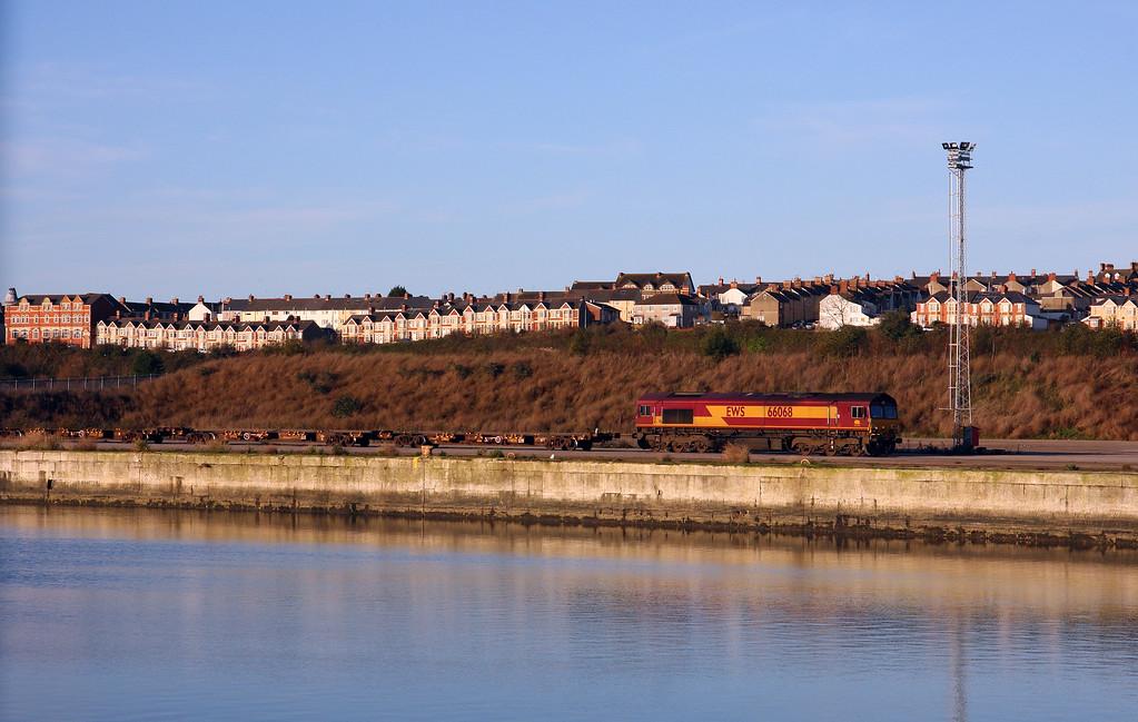 66068, runs around 07.55 Newport Alexandra Docks Junction Yard-Barry Docks, at Barry Docks, 3-12-14.