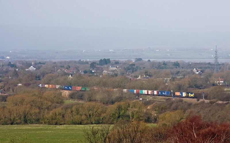 70017, 10.02 Cardiff Wentloog-Southampton MCT, between Pilning and Cattybrook, 26-2-14.