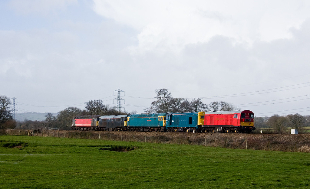 20189/20142/47375/31459/47769, 07.26 Okehampton-Derby Gas Tank Sidings, Pugham Crossing, near Burlescombe, 25-2-14.