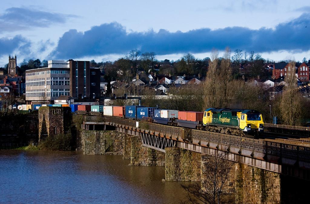 70009, 10.05 Cardiff Wentloog-Southampton MCT, Newport, 4-2-14.