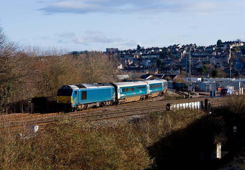 67001/82307, 05.33 Holyhead-Cardiff Central, Newport, 4-2-14.