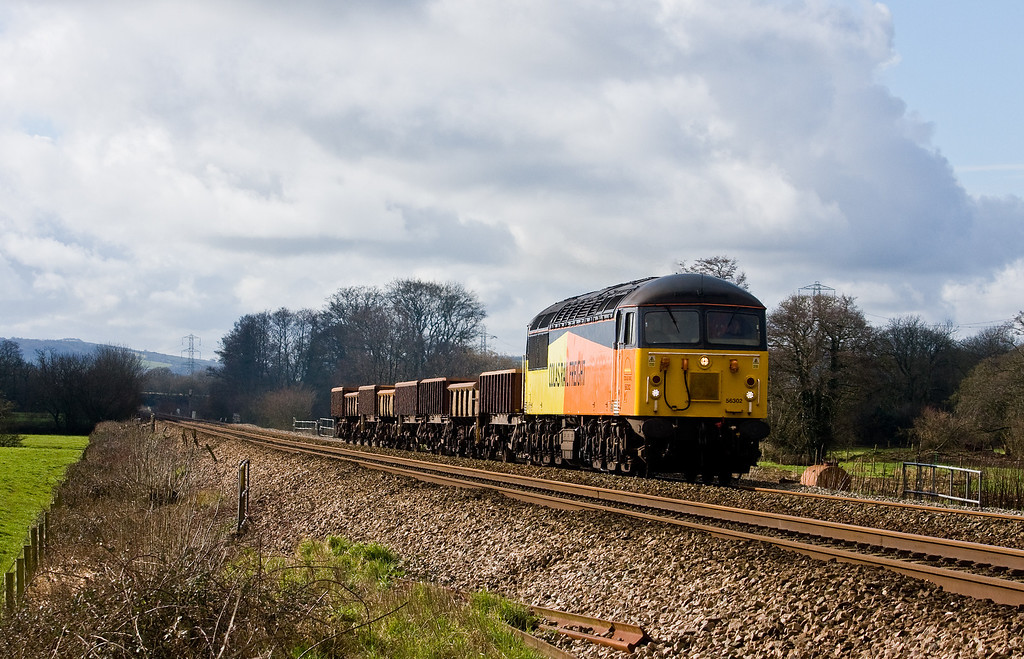 56302, 11.20 Exeter Riverside Yard-Westbury Yard, Pugham Crossing, near Burlescombe, 18-2-14.