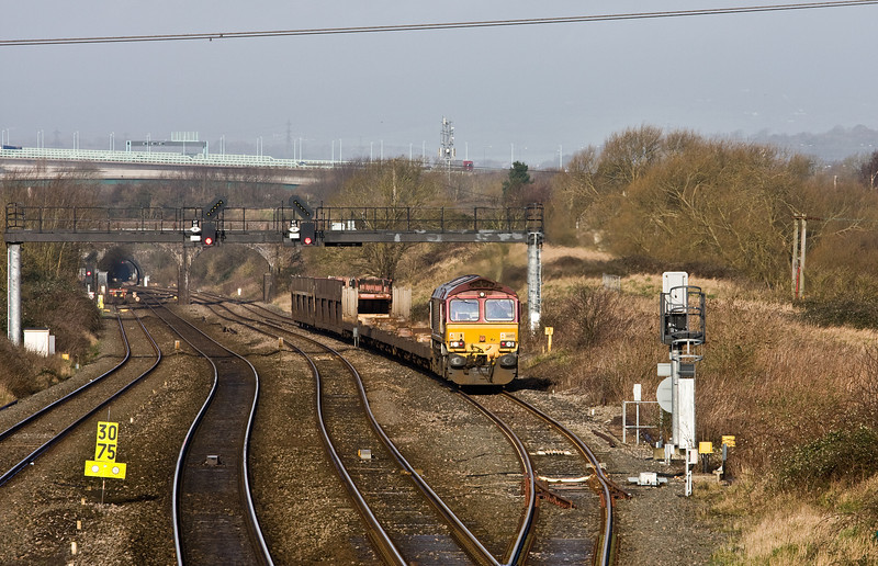 66155, 03.35 Warrington Arpley Sidings-Portbury Automotive Terminal, arriving Pilning Up Loop, 26-2-2014.