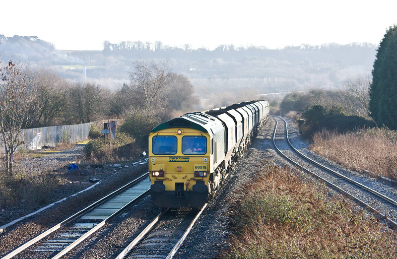 66518, 09.40 Portbury Coal Terminal-Fiddlers Ferry Power Station, Pilning, 14-1-14. Departed 75min late.