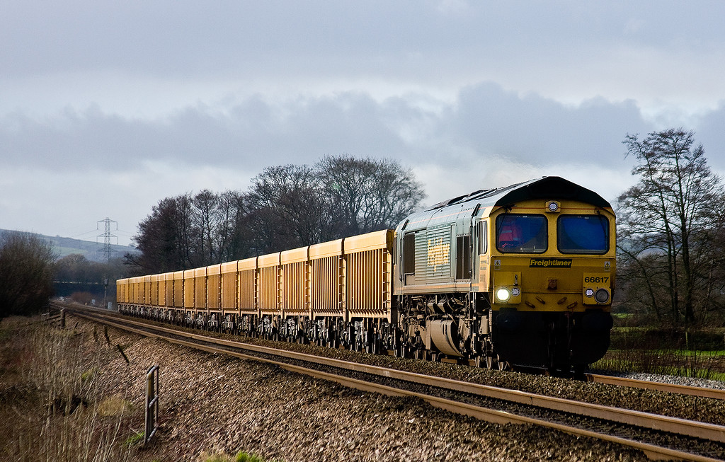 66617, 10.32 Exeter Riverside Yard-Cliffe Hill Stud Farm, Pugham Crossing, near Burlescombe,, 17-1-14.