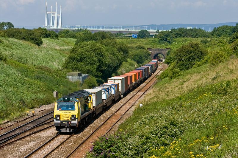 70014, 10.05 Cardiff Wentloog-Southampton MCT, Pilning, 2-7-14.