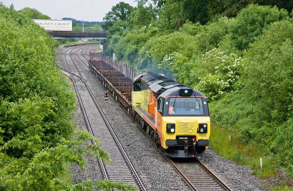 70805, 08.30 Westbury Yard-Newton  Abbot Hackney Yard, Willand, near Tiverton, 4-6-14.