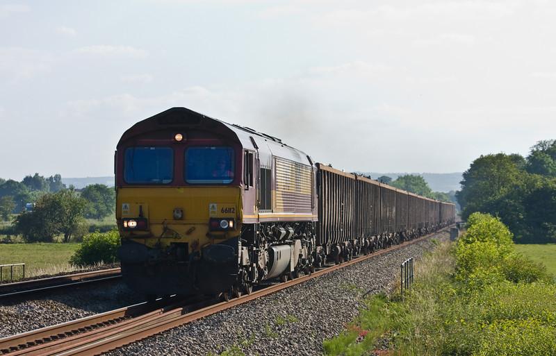 66112, 17.18 Exeter Alphington Road-Cardiff Tidal, Pugham Crossing, near Burlescombe, 12-6-14.