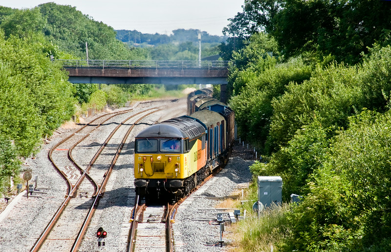 56113, 05.20 Chirk Kronospan-Teigngrace, departing Tiverton Loops, Willand, near Tiverton, 25-6-16.