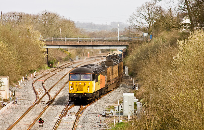 56302, 06.14 Chirk Kronospan-Exeter Riverside Yard, departs Tiverton Loops, Willand, near Tiverton, 19-3-14.