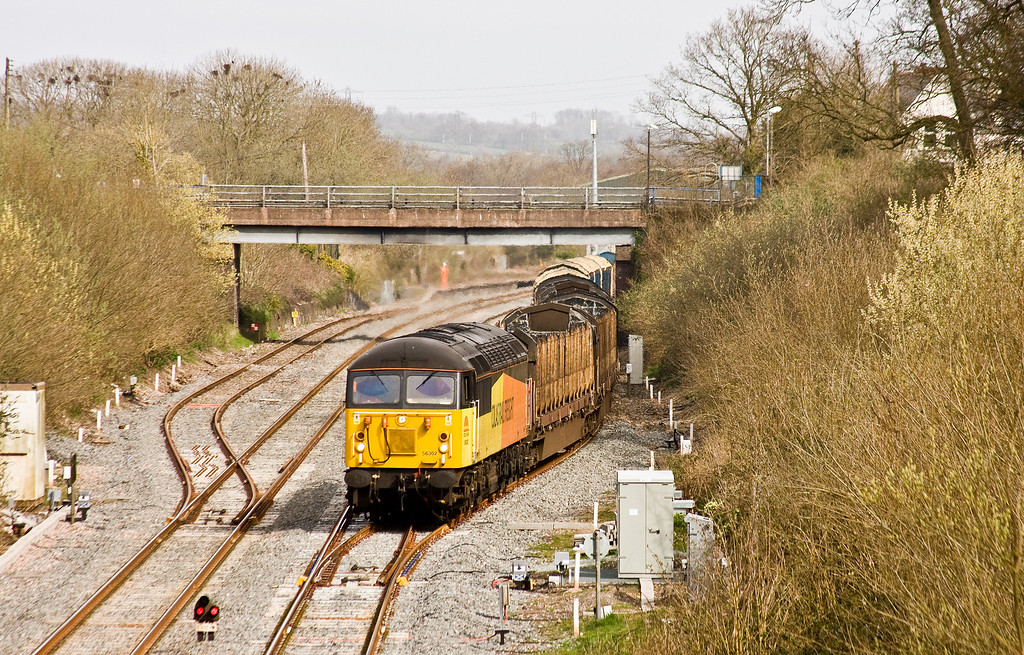 56302, 06.14 Chirk Kronospan-Exeter Riverside Yard, departs Tiverton Loops, Willand, near Tiverton, 19-3-14.
