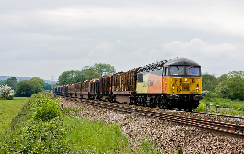56113, 12.55 Teigngrace-Chirk Kronospan, Pugham Crossing, near Burlescombe, 27-5-14. 56078 failed at Newton Abbot.