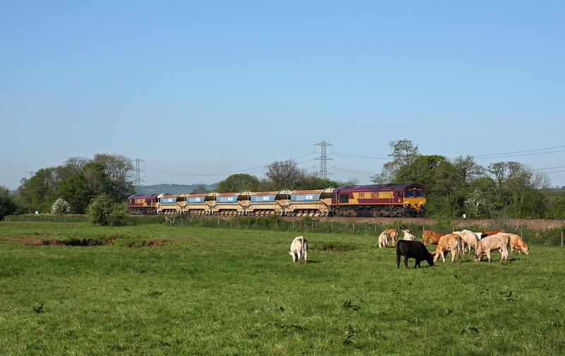 66238/66164, 04.40 Truro Penwithers Junction-Westbury,  Pugham Crossing, near Burlescombe, 15-5-14.