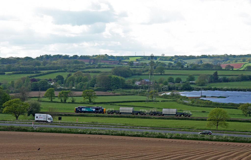 37423, 09.36 Crewe Coal Sidings-Devonport Royal Dockyard, Pugham Crossing, near Burlescombe, 15-5-14.