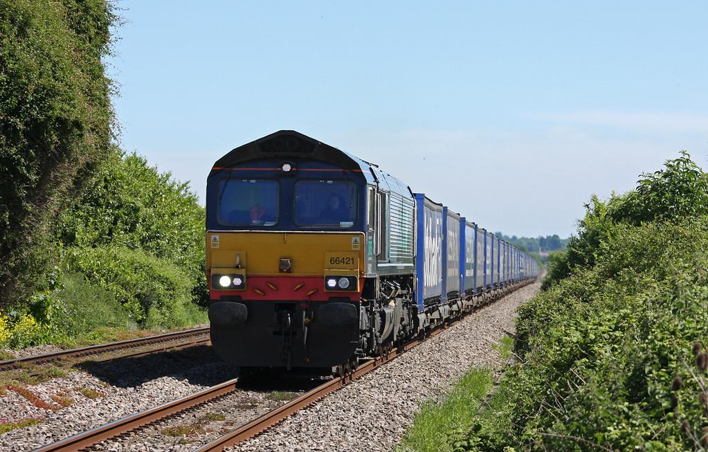 66421, 08.23 Daventry DRS-Cardiff Wentloog, Woolaston, near Lydney, 21-5-14.