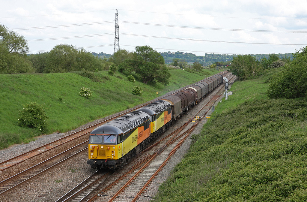 56078/56113, 12.35 Tilbury Riverside-Llanwern Exchange Sidjngs, Pilning, 21-5-14.