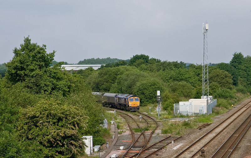 66726, 08.48 Ironbridge Power Station-Liverpool Bulk Terminal, Madeley Junction, Telford, 31-5-14, awaiting road.