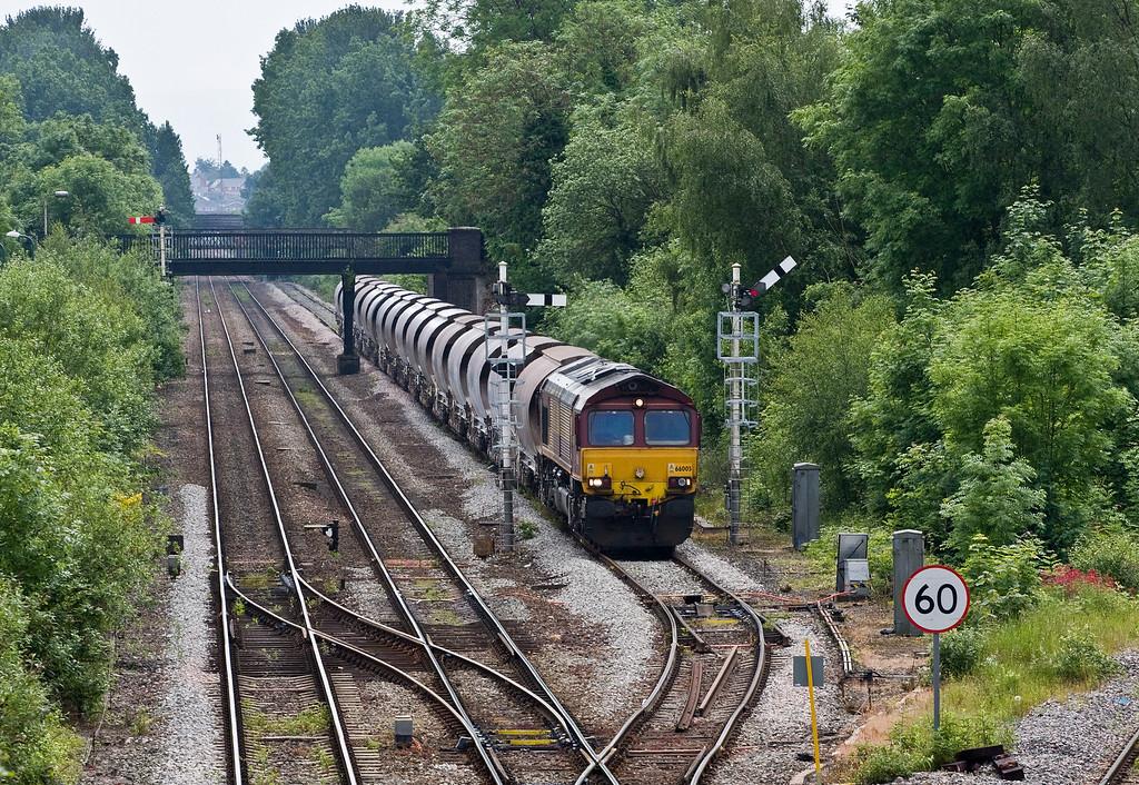 66005, re-starting 09.55 Newport Alexandra Dock Junction-Bescot Down Sidings, Sutton Bridge Junction, Shrewsbury, 31-5-14.