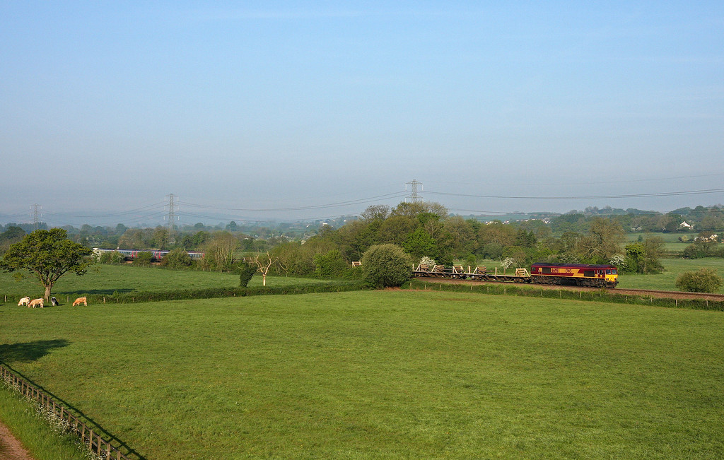 66198, 02.41 Liskeard-Westbury, Pugham Crossing, near Burlescombe, 16-5-14. 221, 06.34 Bristol Temple Meads-Plymouth.