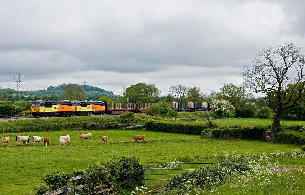 56113/56078, 05.22 Chirk Kronospan-Teigngrace, Pugham Crossing, near Burlescombe, 23-5-14.