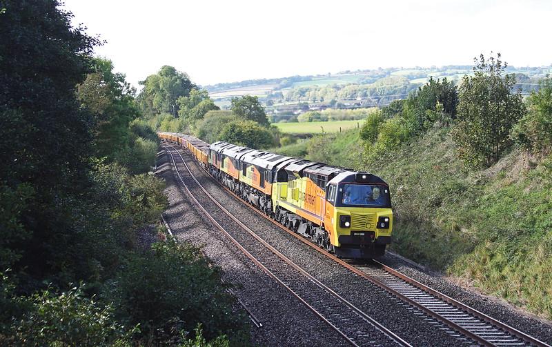 70803/66850/66848/66846, 12.15 Exeter Riverside Yard-Westbury Yard, via Bristol because of Castle Cary engineering-work blockade, Whiteball, 9-10-14.