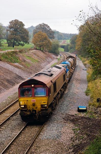 66117/66099, 08.45 Westbury-Salisbury-St Blazey, Whiteball, 30-10-14.