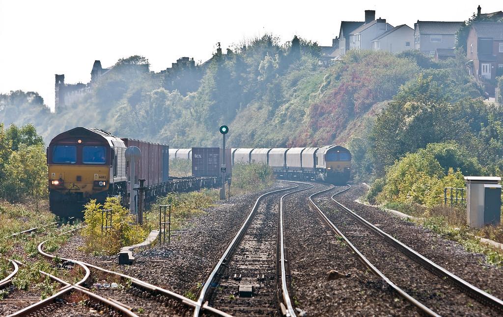 66112, 12.20 Aberthaw Power Station-Onllwyn Washery, Cadoxton, near Barry, 22-9-14, 66183 (left), 14.32 Barry Docks ABP Shipment-Newport Alexandra Dock Junction.