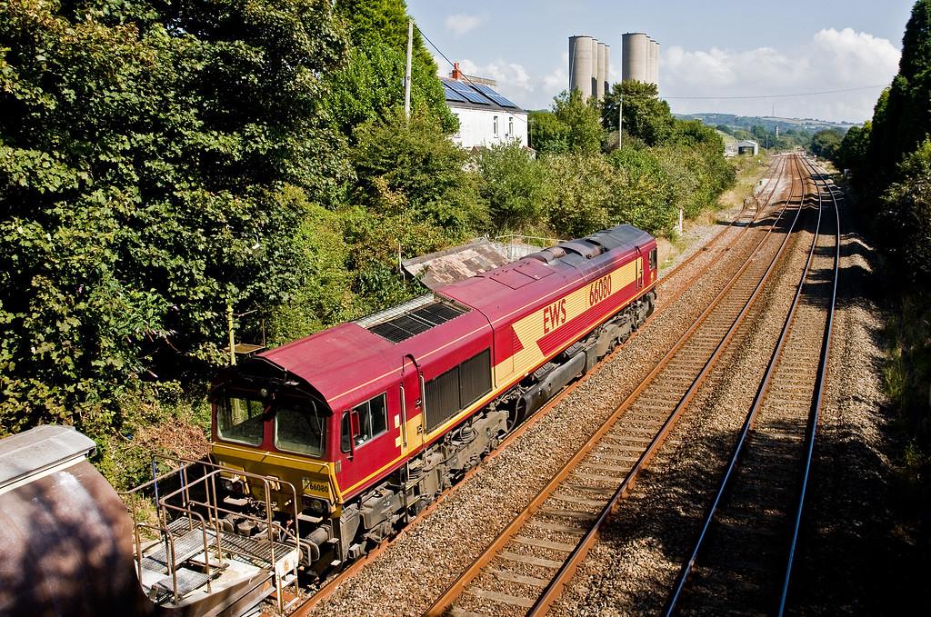 66080, 12.29 Parkandillack-Exeter Riverside Yard (terminated at St Blazey Yard), exchanging tablet at Burngullow, 3-9-14.