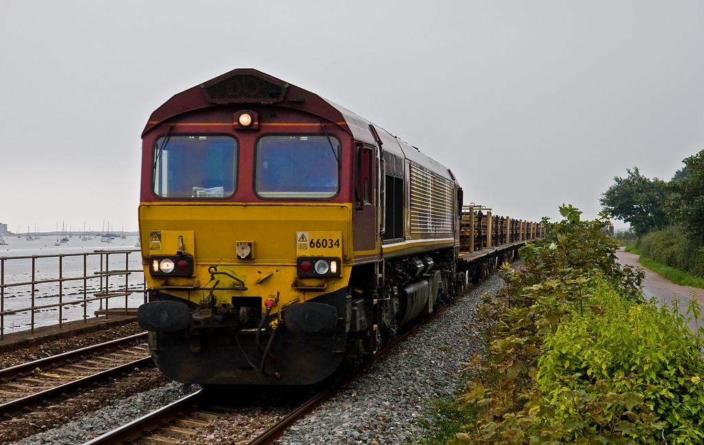 66034, 07.35 Burngullow-Eastleigh East Yard, Powderham, near Starcross, 7-9-14.