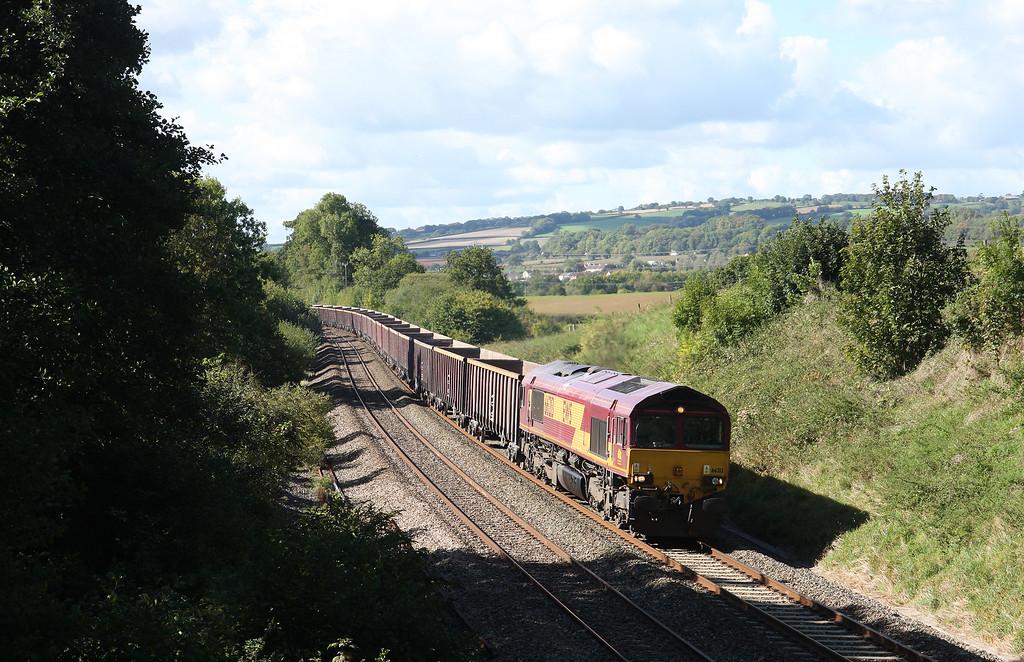 66213, 11.47 Exeter Riverside Yard-Whatley Quarry, Whiteball, 24-9-14.