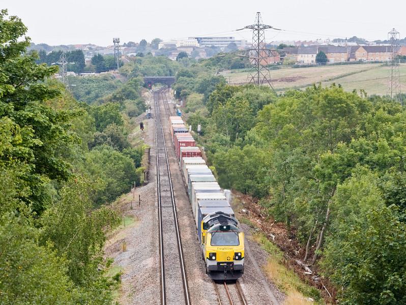 70017, 09.58 Cardiff Wentloog-Southampton MCT, Winterbourne Down, Bristol, 11-8-15.