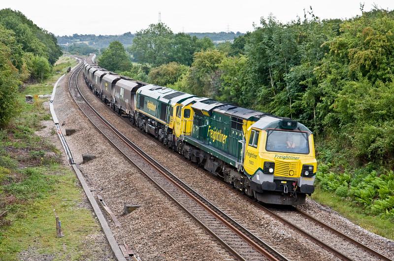 70003/66597 (dead), 07.46 Rugeley Power Station-Stoke Gifford, Coalpit Heath, Bristol, 11-8-15.