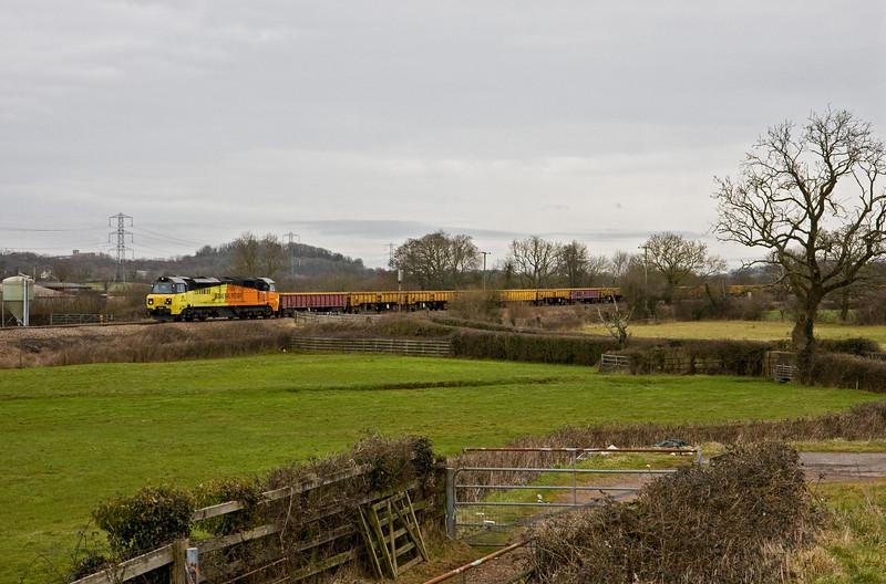 70803, 10.45 Westbury Yard-Exeter Riverside Yard, Pugham Crossing, near Burlescombe, 5-2-15.