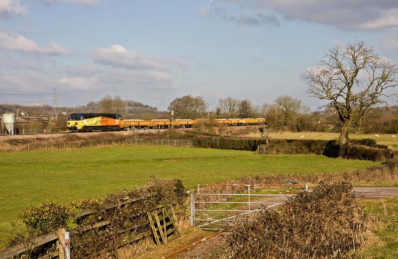 70803, 12.12 Westbury Yard-Exeter Riverside Yard, Pugham Crossing, near Burlescombe, 6-2-15.