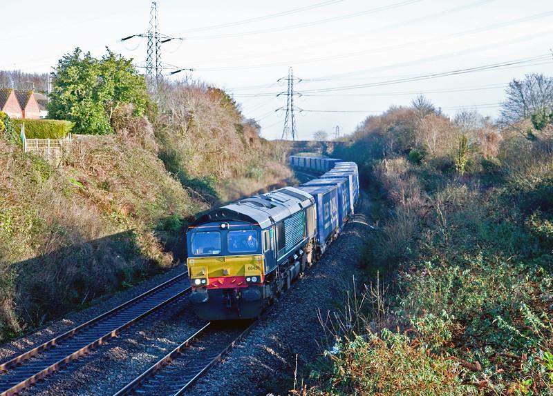 66431, 08.20 Daventry IRFT-Cardiff Wentloog, Portskewett, near Caldicot, 8-1-15.