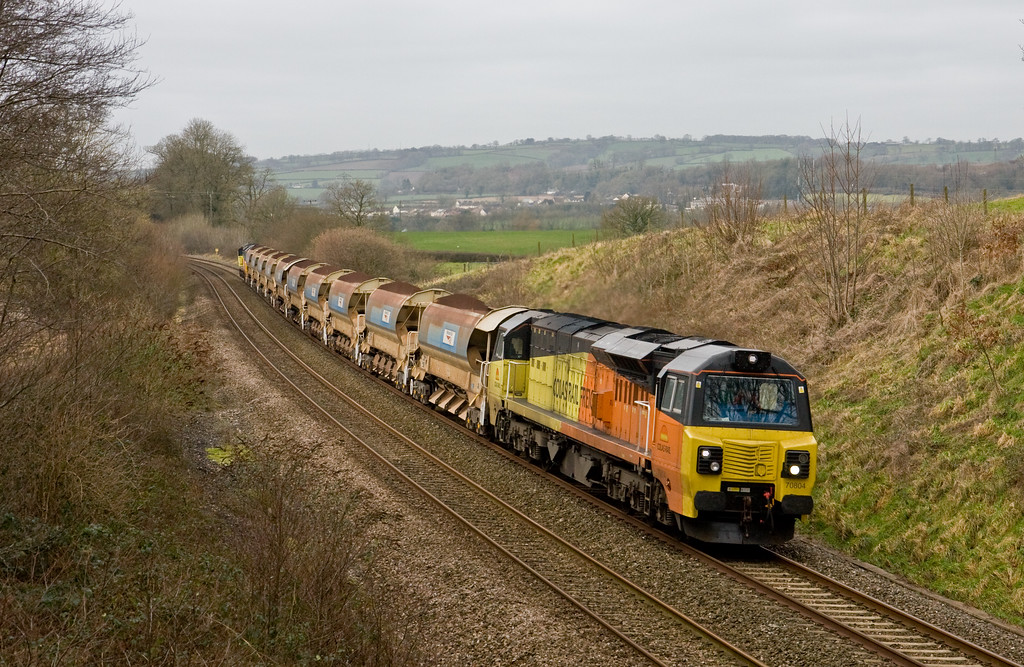 70804/70801, 05.00 Truro Penwithers Junction-Westbury Yard, Whiteball, 25-1-15.