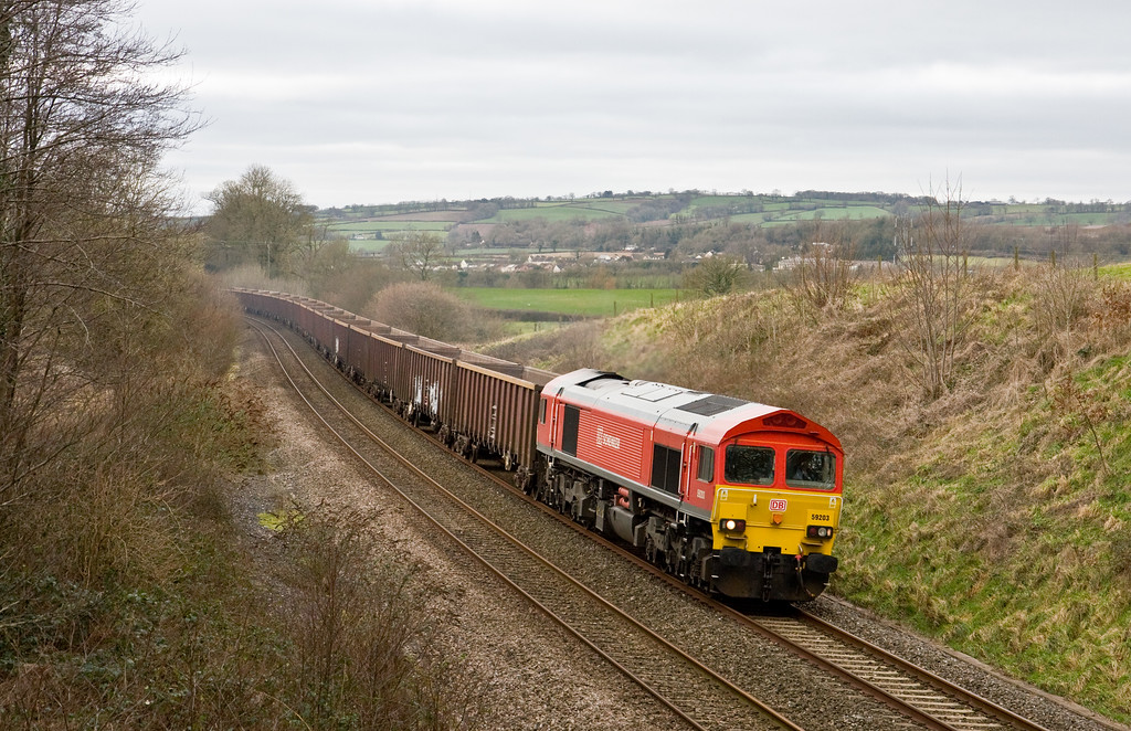 59203, 13.44 Exeter Riverside Yard-Whatley Quarry, Whiteball, 27-1-15.