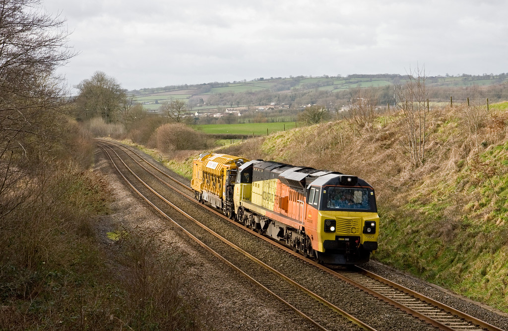 70804, 11.40 Goodrington Sidings-Westbury Yard, Whiteball, 26-1-15.