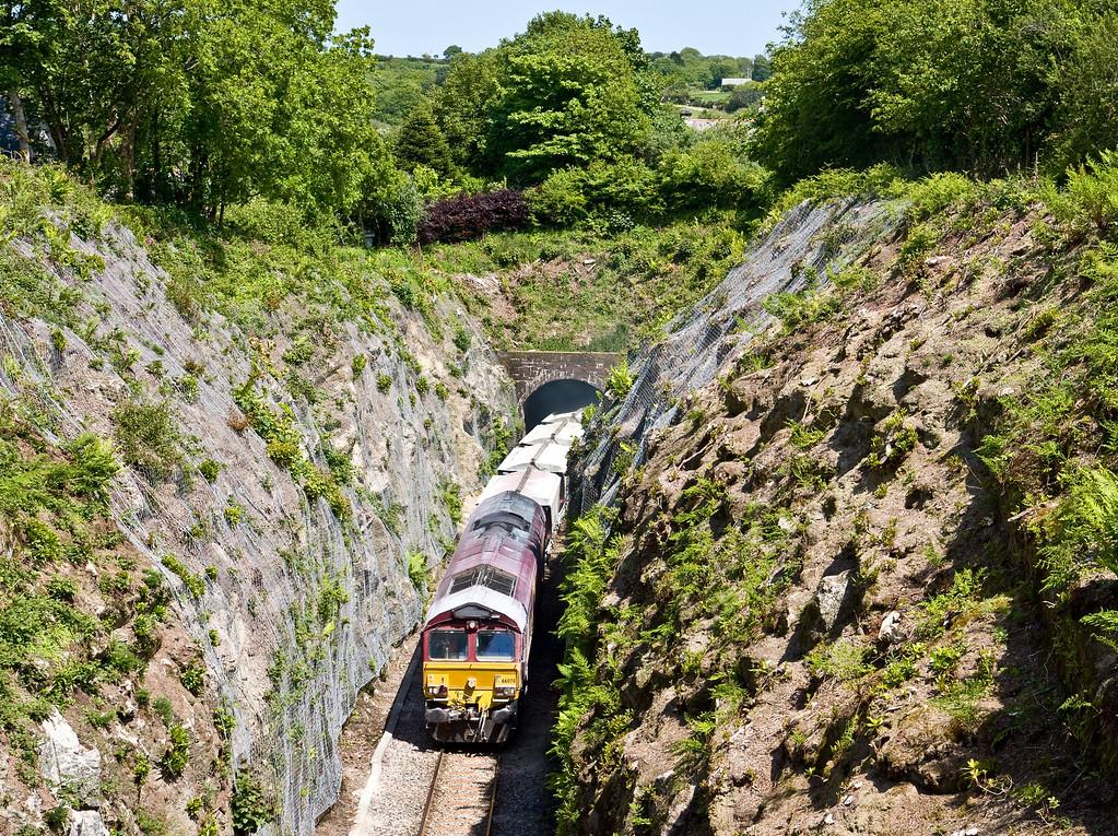 66078, 13.50 Fowey Dock Carne Point-Goonbarrow Junction, Luxulyan Tunnel, near St Blazey, 4-6-15.