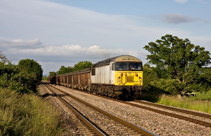 56103, 14.50 Derby Chaddesden Sidings-Cardiff Tidal Yard, Broken Cross, near Westbury-on-Severn, 18-6-15.