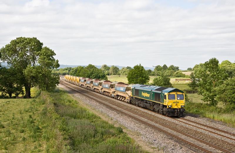 66599, 09.19 Taunton Fairwater Yard-Westbury Virtual Quarry, Cogload, 10-06-15.