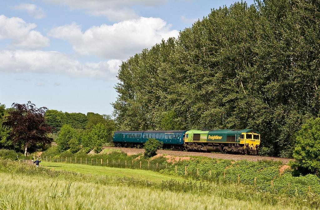 66522, dragging Demu 1118, 14.30 Williton-Okehampton, Beambridge, near Wellington, 3-6-15. Demu, restored at Williton, on the West Somerset Railway, being moved to Okehampton for work on the Dartmoor Line.