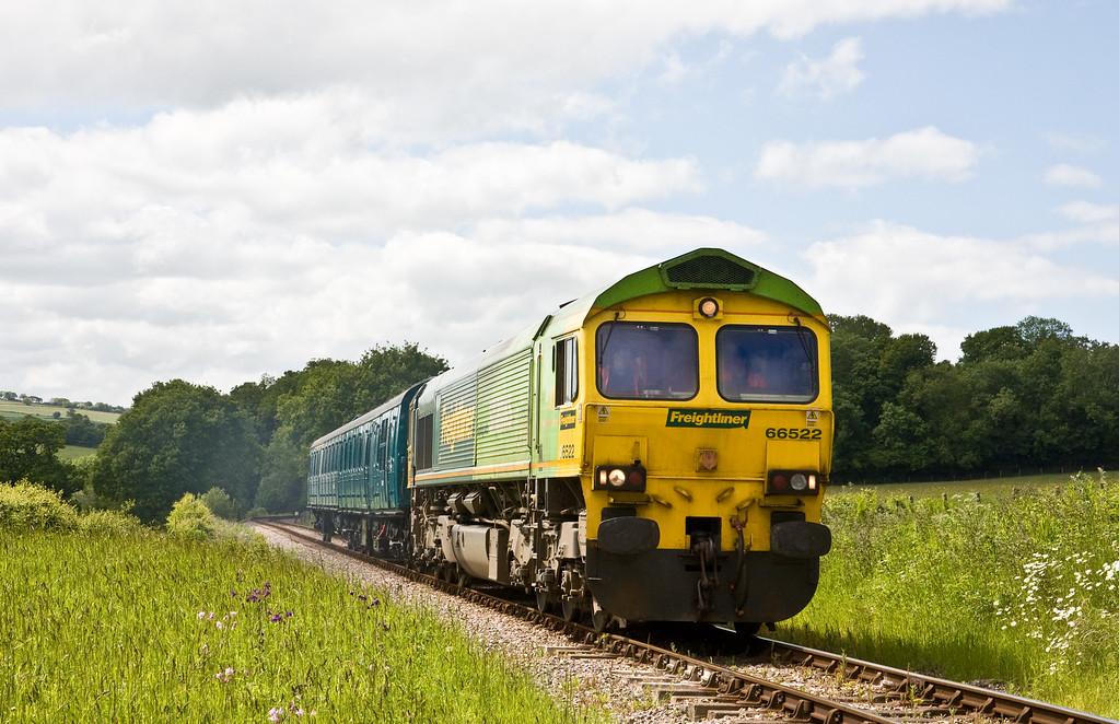 66522, dragging Demu 1118, 14.30 Williton-Okehampton, Leigh Wood Level Crossing, near Stogumber, 3-6-15. Demu, restored at Williton, on the West Somerset Railway, being moved to Okehampton for work on the Dartmoor Line.