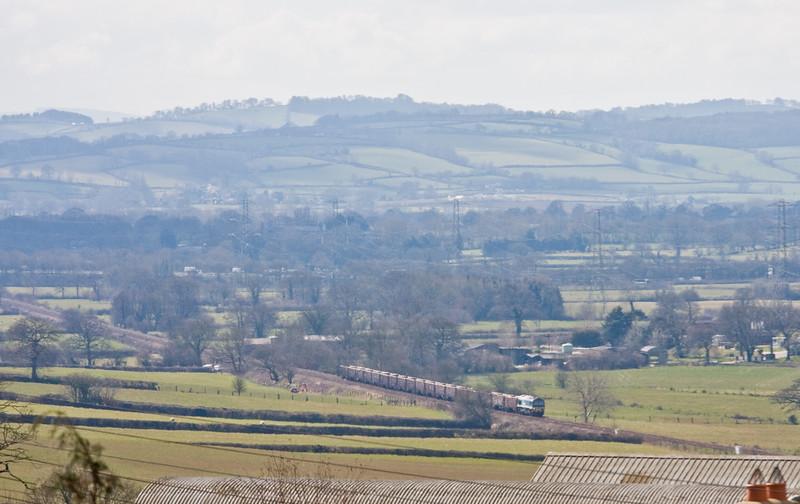59101, 12.15 Exeter Riverside Yard-Westbury Yard, between Tiverton Parkway and Burlescombe, 25-3-15.