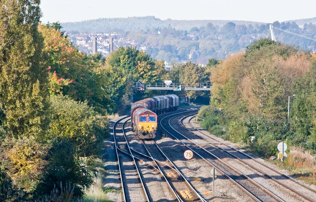 66135, 09.15 Birdport (Newport East Usk branch)-Llanwern Exchange Sidings, Llanwern West Junction, 20-10-15. Early.