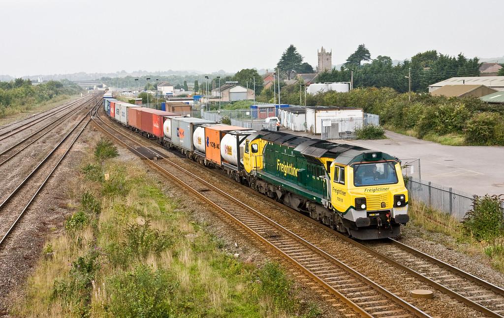 70018, 09.58 Cardiff Wentloog-Southampton Maritime, Severn Tunnel Junction, 10-9-15.
