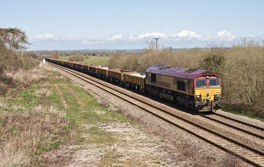 66080, 13.22 Bristol North Somerset Junction-Westbury, Bankland, near Bridgwater, 5-4-16 (76min late).
