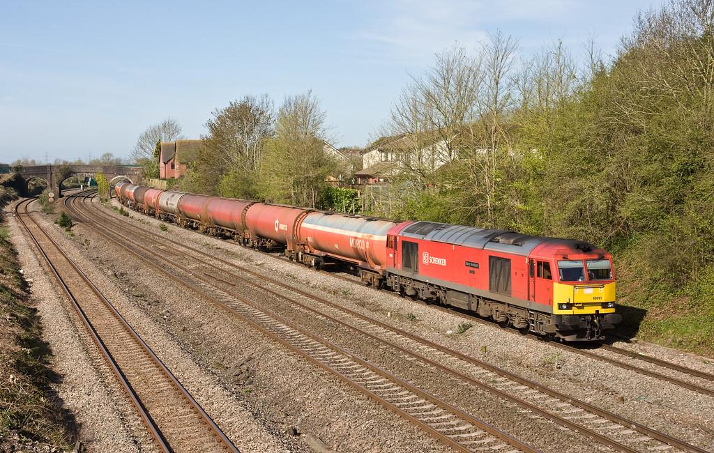 60091, 03.40 Robeston Sidings-Westerleigh Murco, Undy, near Severn Tunnel Junction, 20-4-16.