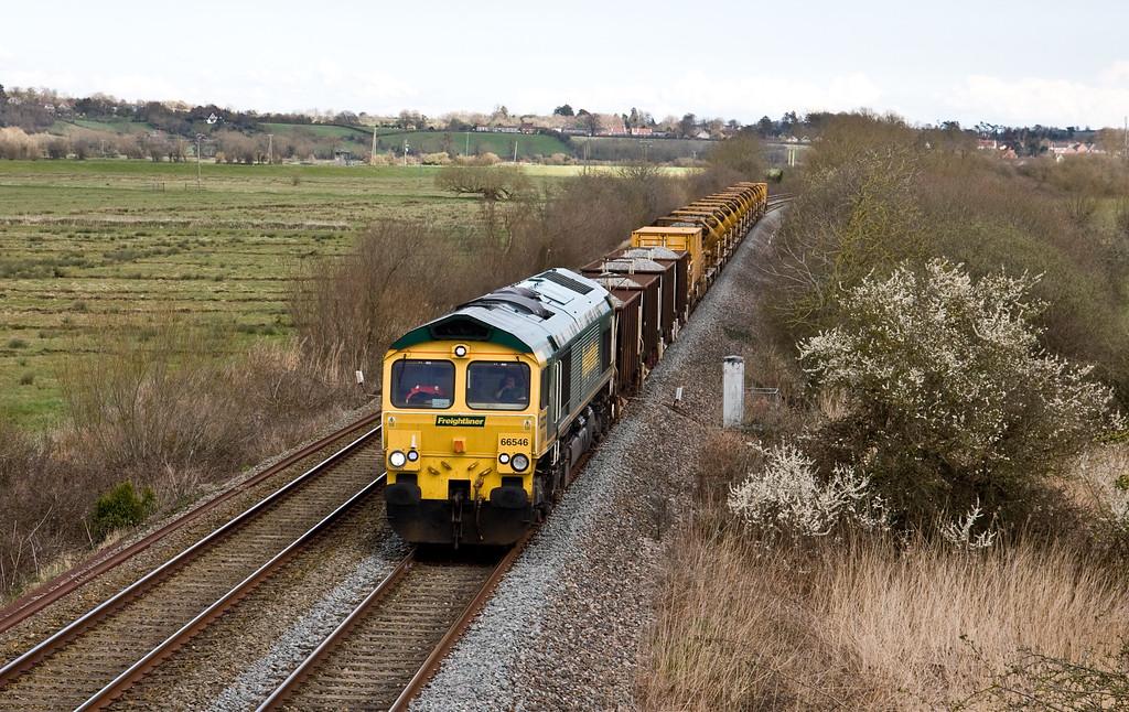 66546, 15.11 Westbury-Taunton Fairwater Yard, Wick, near Langport, 5-4-16 (3hr late).