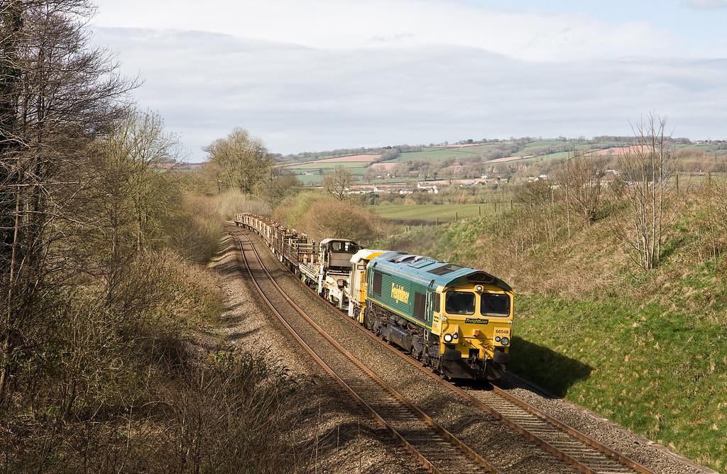 66548, 08.40 Aish Emergency Crossover (near Ivybridge)-Westbury, via Plymouth, Whiteball, 10-4-16.